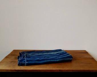 "Vintage African Indigo Mud Cloth Textile with Farmhouse Style Stripes 40"" x 57"""