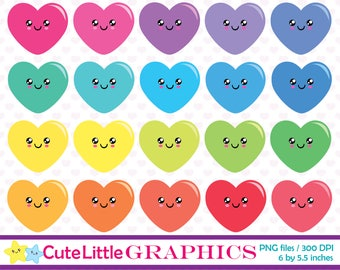 Kawaii Hearts Clip art, Heart clip art, Heart Icons, Printable hearts, Instant download, Commercial use