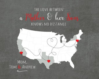 Birthday Gift for Mom, Long Distance Gift for Mom, Going Away Gift for Mom, Mother and Son Quote, Knows No Distance Quote,  US Map Art