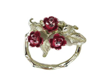 Gerry's Brooch, Rose Wreath Brooch, Vintage Circle Brooch, Red Roses Pin, Signed Designer 1970s Jewelry, Gift Idea