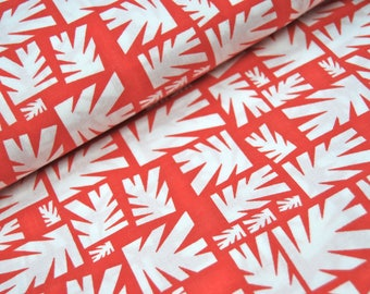 Coupon organic FAT QUARTER - leaves geometric - red and white - Cloud9 Fabrics