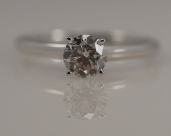 0.58ct Carat Round Brilliant Cut Diamond 14k White Gold Solitaire 4 Prong Engagement Promise Ring Simple Traditional