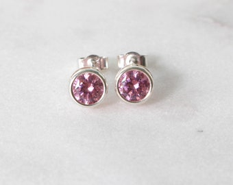 Swarovski Pink Zirconia Sterling Silver Stud Earrings  • Gifts for women • Bridesmaid Earrings • Prom Earrings