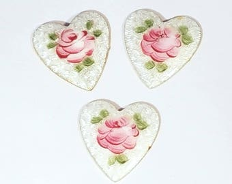 Vintage Enamel and Brass Hearts with Roses 1920s
