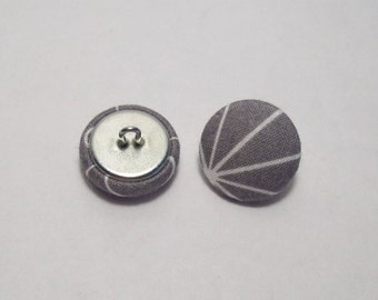6 fabric covered buttons graphic gray and white 21mm