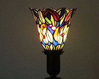 Candlestick Lamp - Torch Lamp - Up Lamp - Stained Glass Shade
