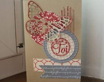 Card is handmade, butterfly
