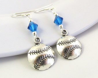 Baseball Earrings- choose a birthstone, Baseball Jewelry, Baseball Mom, Baseball Gift, Sports Earrings, Baseball Charm, Sport Jewelry, Sport