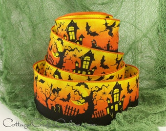 """Halloween Wired Ribbon, 2 1/2""""  Haunted House, Witch, Black Cat - TEN YARDS -  """"Graveyard Night""""   Wire Edged Ribbon"""