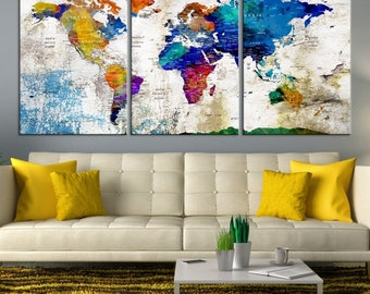 World Map Wall Art, World Map Canvas, World Map Print, World Map Canvas