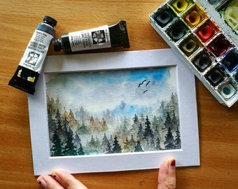 Green and Blue Forest Original Watercolor Landscape Painting, Evergreen Trees, Pacific Northwest, Pine Trees, Misty, Nature, Wall Art, Decor