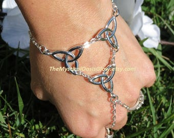 Celtic Body Jewelry, Slave bracelet ring, chain ring bracelet, Bracelet with ring attached, Infinity bracelet, ring bracelet handlet