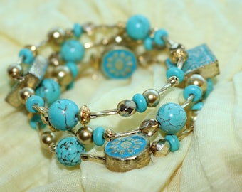Turquoise & Gold Boho Memory Wire Bracelet/Blue and Gold/Beach Jewelry/Hippie/Stone/Gift for Her/Girlfriend Gift/Best Friend/Sister Gift