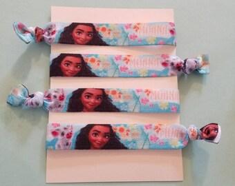 Set of 4 Moana elastic hair ties