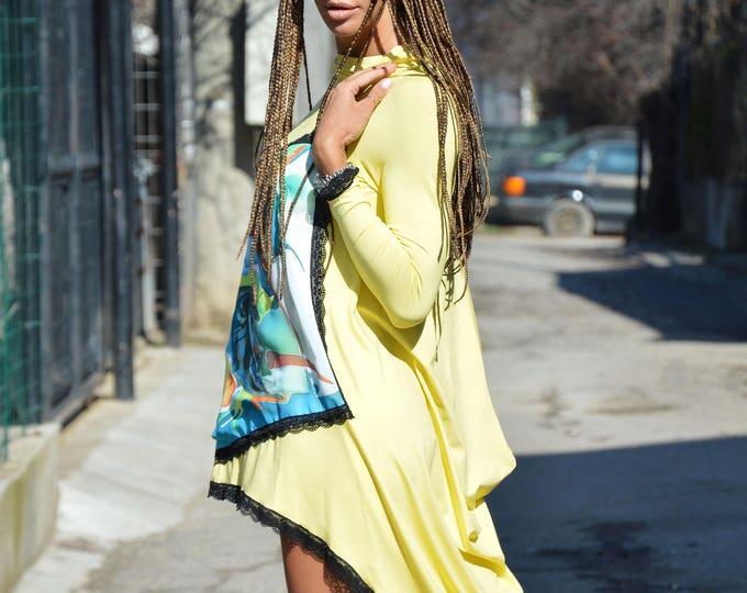 Casual Asymmetric Lemon Yellow Dress With Lace, Plus Size Clothing, Handmade Drawing, Fashion Maxi Tunic by SSDfashion