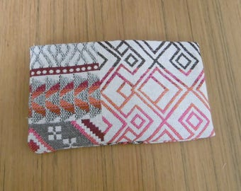 Organizer purse pink and grey patterns