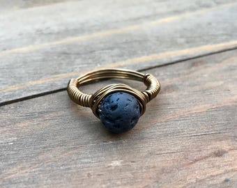 Lava Stone Brass Ring