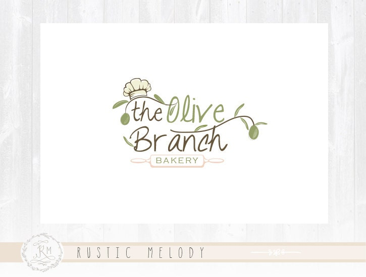 Bakery Logo Design Kitchen Olive Restaurant Good Food Rustic Watermark