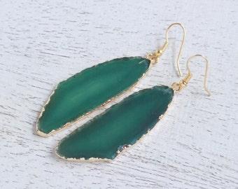 Sliced Agate Earrings, Green Dangle Earrings, Drop Earrings, Agate Earrings, Large Gemstone Earrings, Clip-on Earrings, Gift For Her, G7-566