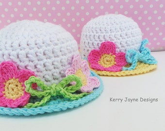 CROCHET HAT PATTERN - Summer Garden Hat pattern Baby sun hat pattern Quick and easy pattern Summer crochet Hat Pattern  With photo tutorial