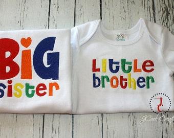 Big Sister Little Brother Sibling Shirt Set, Big Sister Shirt, Big Sister Dress, Little Brother Shirt, Little Brother Outfit, Sibling Outfit
