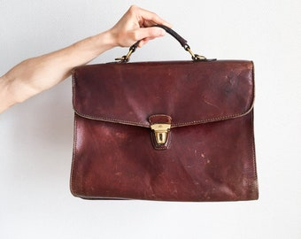Brown Leather Handbag From 70s