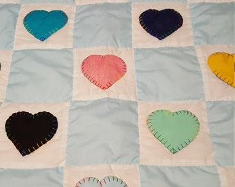 Hand quilted baby blue squares and multicolored hearts