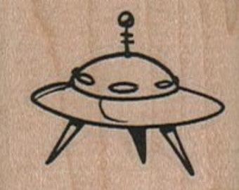 UFO,  wood mounted art and craft supplies,   tateam  Item 8106