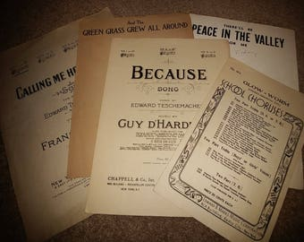 Sheet music, A Collection of 5 from the 1920's and 1930's