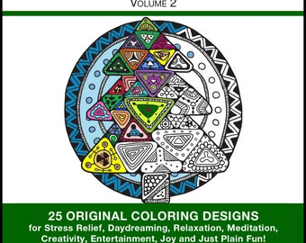 Christmas Pictures to Color - PRINTED BOOK - Christmas Coloring - 25 Original Coloring Designs for Stress Relief & Relaxation