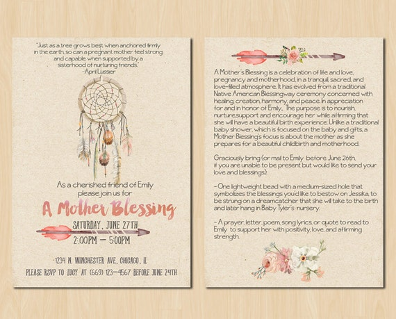 Items similar to Dream Catcher Mother Blessing Invitation