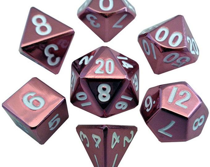 7-Die Set Metal: Pink Painted - MTD009 - Metallic Dice Games
