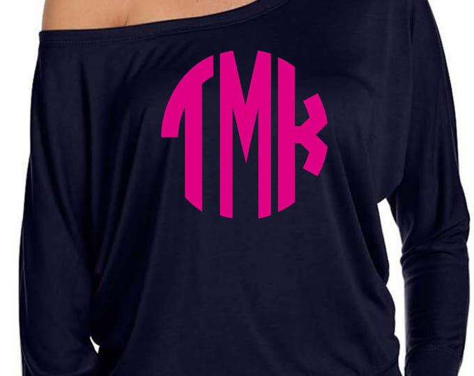 Womens monogrammed long sleeve shirts . Initial Shirt long sleeved . Slouchy , off shoulder, comfy monogram tee shirt . Ladies monogram tee