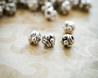 3 mm, 40 Silvered metal Spacer Beads, Antique Silver, size 3mm, DIY Jewelry Making Supplies Findings Separators