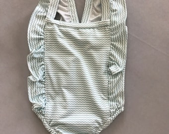 Mint Green Pinstrip Girls One Piece Swimsuit