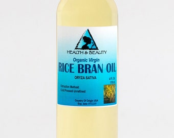 4 oz RICE BRAN OIL Organic Carrier Unrefined Cold Pressed Virgin Raw Pure