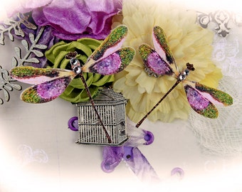 Reneabouquets Enchanted Garden Dragonfly Set  Scrapbook Embellishment, Tag, Card, Mini Album, Wedding, Dragonflies