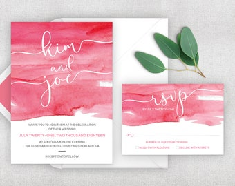Rose gold watercolor wedding invitation. Easily print from home.