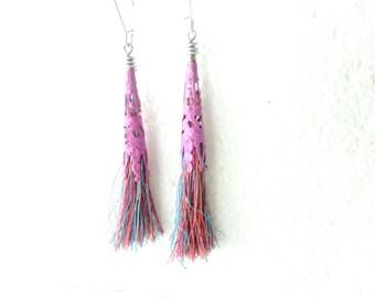 Pink tassel long earrings filigree earrings tassel earrings