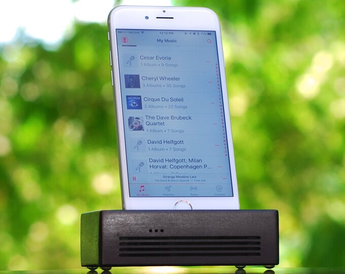 iPhone  Docking Station - The CONCERT  Speaker Dock in BLACK – Use With or Without a Cover - Boosts the Sound