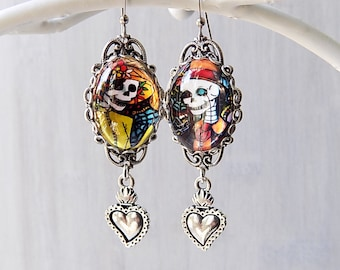 Day of the Dead Earrings - Sacred Heart Earrings - Dias De Los Muertos Earrings - Skeleton Earrings - Katrina Earrings -  Halloween Jewelry