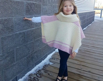 Crochet Pattern: Emelyn Cowl Neck Poncho, Sizes Toddler, Child Small, Child Large, & Adult **Permission to sell finished items