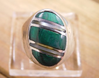 Sterling Silver Channel Inlay Malachite Mother of Pearl Ring Size 10