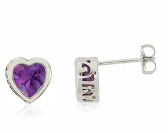 14K Amethyst Heart Earrings -  14K White Gold Bezel Set Genuine Amethyst Gemstone Studs - 6mm Heart - February Birthstone - Gift for Her