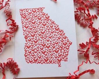 Georgia Valentine's Day Card, Georgia Love, Georgia Bride, Georgia Greeting Card, Southern Valentine, Southern Love, Georgia Gifts