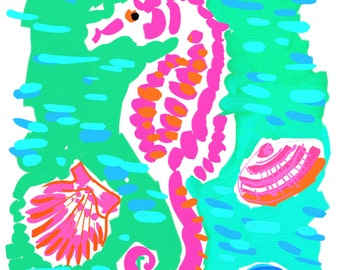 Art Print 11x14 Pink Sea Horse with Aqua by artist Kelly Tracht, Art Poster Preppy Art Palm Beach #4O