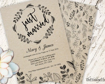 Elopement Invitation Cards save-the-date elopement reception only we eloped reception just eloped elopement printable pdf 006