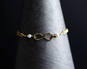 Infinity bracelet Gold Friendship bracelet Bridesmaid gift Best friends Bridesmaid gift bracelet Bridal gift bracelet Pearl bracelet 896