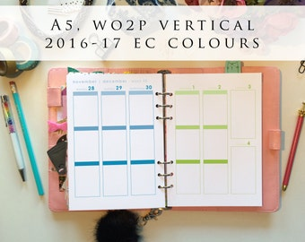 A5 planner inserts - week on 2 pages (WO2P), vertical, Mon-Sun, 2016/17 EC colours, pre-punched (A5.4)