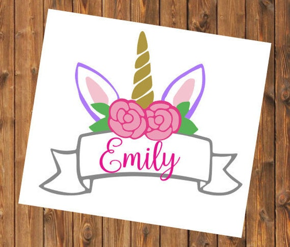 Free Shipping-Personalized Unicorn Horn Banner, Yeti RTIC Cup Sticker, Car Window Decal, Laptop flowers Sticker Decal, Personalized Decal